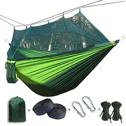 FENGSZ Portable Parachute Hammock 260Cm X 140Cm,Bearing 440 Pounds,For Outdoor, Yard, Camping, Beach And Patio,Dark Gree And Green