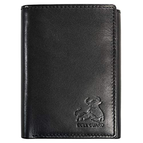 Bull Guard Genuine Nappa Leather Trifold Wallet For Men RFID And ID Window