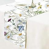 Chemin de table en coton floral, motif floral de printemps, napperon de table en tissu, décoration de la maison pour cuisine, salle à manger, fête de mariage