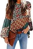 APig Camisas Bohemia de Gasa para Mujer Camisetas Floral Tops Blusas de Manga Larga Sueltas Casual de Boho Bohemia