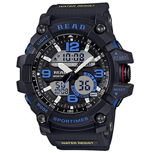 SFACN Night Light con Alarma Y Fecha Y Semana Pantalla Función Movimiento De Cuarzo Reloj Deportivo para Hombres con Correa De Goma (Color : Azul)