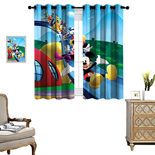 DRAGON VINES Thermal Insulated Blackout Curtains Mickey Mouse Clubhouse Slide Great for Living Rooms and Bedrooms Set of 2 Panels W55 x L72
