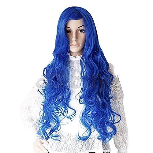 Pruik met krullend haar - lange verlengingen - 70cm - synthetisch - uitstekende kwaliteit - anime - manga - één maat - blauwe kleur - origineel idee voor een verjaardagscadeau voor kerst cosplay