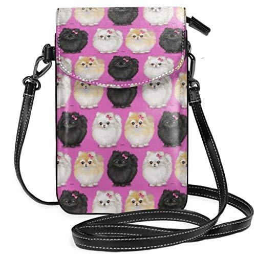 Suminla-Home Kleine Handybörse mit abnehmbarem Riemen für Handy, Pomeranians Pink