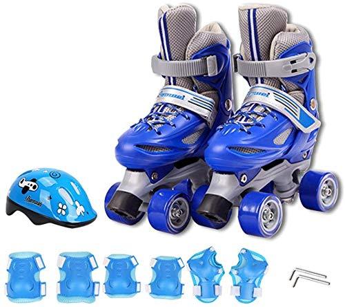 WEDSGTV Kinder-Rollschuhe Rollschuhe Zweireihig Verstellbare Schuhgröße Verschleißfeste Pu-Räder Für Kinder Im Innen- Und Außenbereich (mit Schutzausrüstung),BlueProtectiveGear-XS(27~30EU)