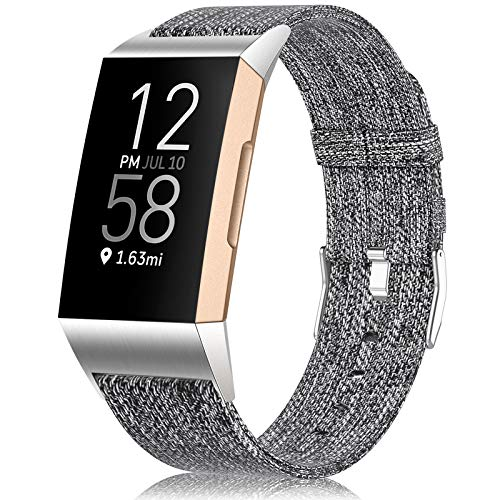 Maledan Compatible with Charge 4/ Charge 3/ Charge 3 SE Bands for Women Men, Soft Woven Fabric Replacement Band Accessory Strap, Charcoal, Small Size
