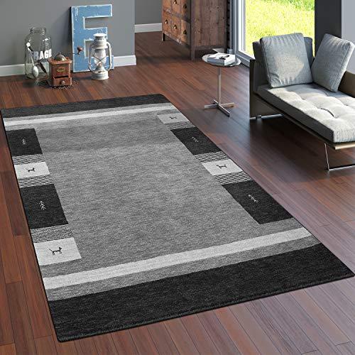 Paco Home Teppich Handgewebt Gabbeh Hochwertig Wolle Meliert Bordüre In Grau, Grösse:160x230 cm