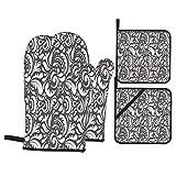 Juego de Manoplas y Porta ollas para Horno,Ornamento con Estilo de Trama.Garabatos Abstractos sobre un Fondo Gris,Guantes y agarraderas Resistentes al Calor para cocinar,Hornear,Asar,Barbacoa o Cena