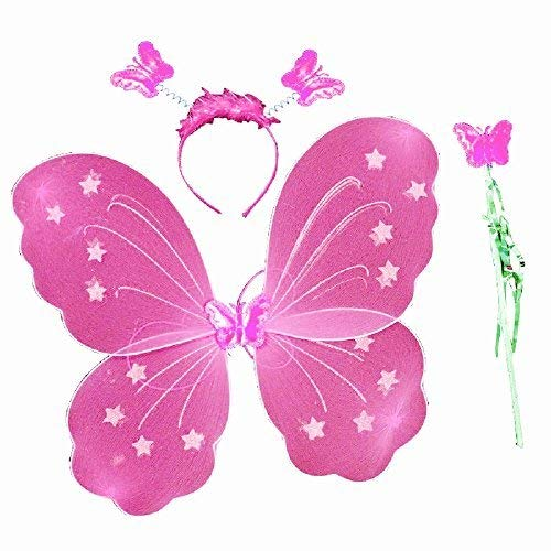 3/7 jaar - verkleedpartij - vermomming - carnaval - halloween - theater - vlindervleugels - fee - hoofdband - toverstaf - roze - meisje