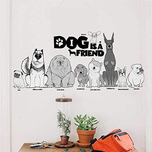 YSNMM Muurstickers Mooie Hond Is Een Vriend Home Decor Woonkamer Huisdier Ziekenhuis Window Cartoon Dieren Muurstickers Pvc muurschildering Poster