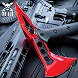 M48 Red Tactical Tomahawk Axe with Snap-On Sheath - Hawk Axe, Cast Stainless Steel Blade, Fiberglass Handle - Length 15'