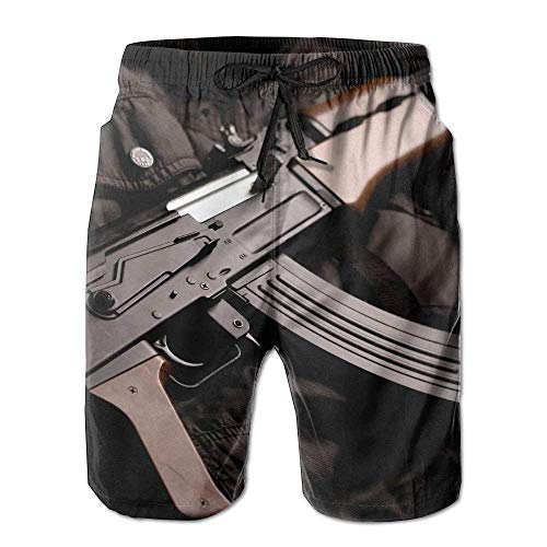 Einst Military Sniper Gun Rifle Quick Dry Lace Boardshort Surf Beach Board Shorts Pants Swim Trunks Comical Hombres Swimsuit with Pockets