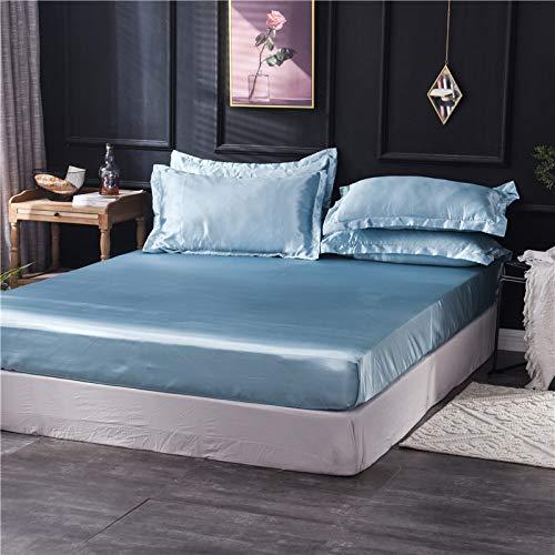 HAIBA Sábana de microfibra – Lujosa sábana sin plancha es transpirable, te mantiene fresco y cómodo, esta sábana superior hipoalergénica es muy suave y sedosa, azul claro, 180 x 200 cm