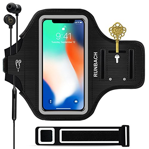 RUNBACH iPhone 11 Pro/iPhone X/XS Armband, Sweatproof Running Exercise Gym Cellphone Sportband Bag with Fingerprint Touch/Key Holder and Card Slot for 5.8 Inch iPhone 11 Pro/iPhone X/XS(Black)