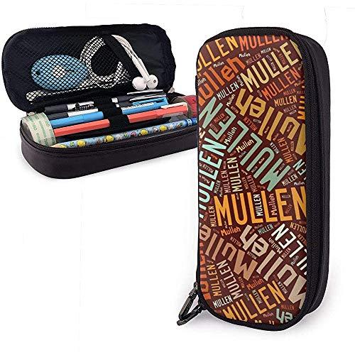 Mullen - Estuche de lápices de cuero de gran capacidad con apellido americano, lápiz, lápiz, papelería, organizador, marcador escolar, bolígrafo, bolsa de papelería para estudiantes