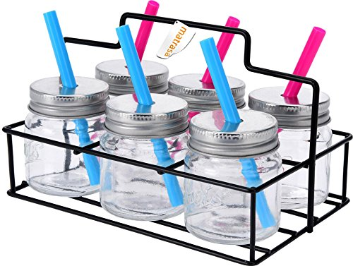 matrasa 6 Mini Trinkgläser mit Trinkhalm inkl Servierkorb - Ideal für Kinder oder Shots
