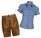 Gaudi-Leathers Conjunto de pantalones cortos de piel para mujer, color marrón claro, con tirantes y blusa tradicional Mala a cuadros, varios colores, marca azul y blanco a cuadros 36