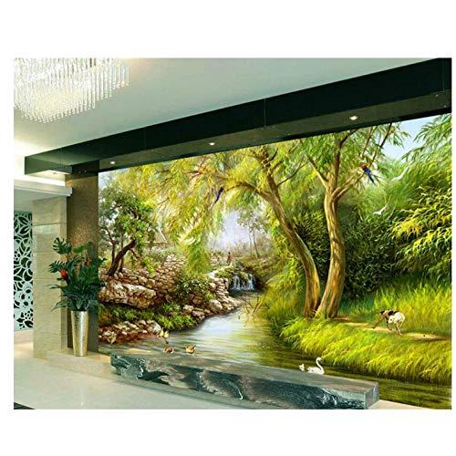 Lovemq Große Tapete Fluss Trauerweide Landschaft Handgezeichnete Gemälde Wandaufkleber Dekoration 3D Wandbild-400X280Cm