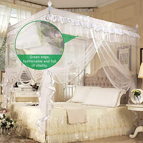 Hztyyier 1 Stücke 4 Ecken Prinzessin Bett Vorhang Baldachin Net für Mädchen Prinzessin Schlafzimmer Dekoration, 2 Größen, 3 Farben Optional(1.2 * 2.0M-Weiß)