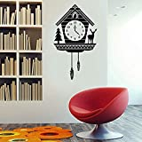 Wand - Aufkleber Rustikale Kuckucksuhr - Gewohnheit Kunst - Aufkleber für Interiors Homes Wohnen Zimmer Wohnungen und Schlafzimmer Vinyl 42 * 74cm