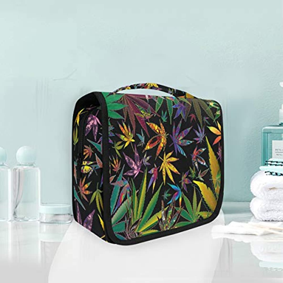 SLHFPX Colorful Cannabis Leaf Toiletry Bag Multifunction Cosmetic Bag Portable Makeup Pouch Waterproof Travel Hanging Organizer Bag for Women Men Girls