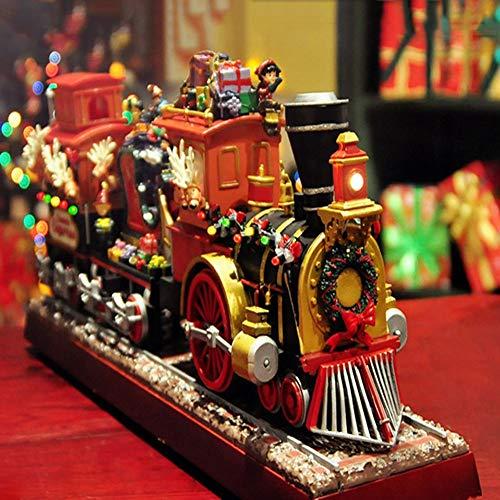 XFSE - Carillon Elettronico Con Treno Di Natale, Luci Lampeggianti Colorate, Decorazioni Per La Casa, Idea Regalo Per Compleanno Per Bambini, 44 X 10 X 18 Cm