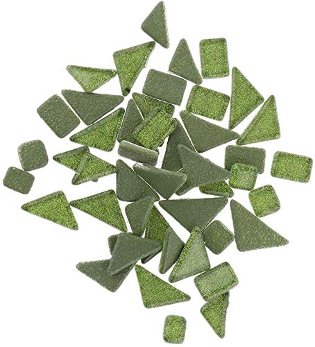 EPRHAY 100 g pro Packung pfauengrün/Modena/pink/rosarot/Kaffee/türkis/grasgrün/unregelmäßige Glasmosaik Fliesen für DIY Kunst Handwerk Eltern-Kind Kreatives Collagematerial Grasgrün