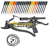 KingsArchery Crossbow Self-Cocking 80 LBS with Hunting Scope, Spare Crossbow String and Caps, 3 Aluminium Arrow Bolts, and Bonus 24-Pack of Colored PVC Arrow Bolts Warranty