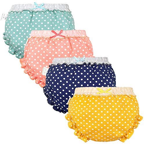 Baby Girls Bloomers Newborn Infant Toddler Diaper Covers Kids Girls Briefs Underwear Set 0-4T 4-Pack (0-12 Months, 4 Color-A)