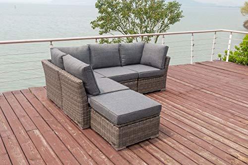 OUTFLEXX Loungemöbel Set, grau aus Polyrattan-Geflecht, Loungeecke für 5 Personen, wasserfeste Kissenbox, Lounge Möbel