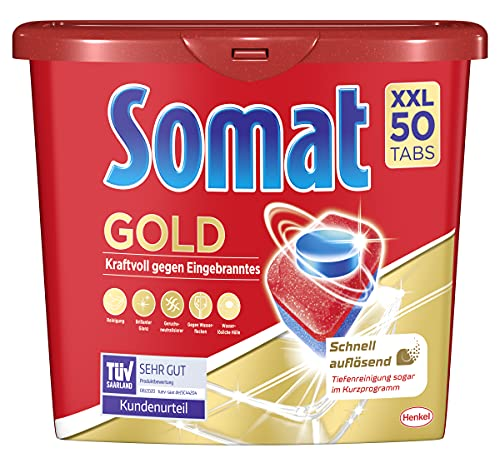 Somat Gold Spülmaschinen Tabs, 50 Tabs, Geschirrspül Tabs mit Extra-Kraft gegen Eingebranntes und Glanz-Effekt