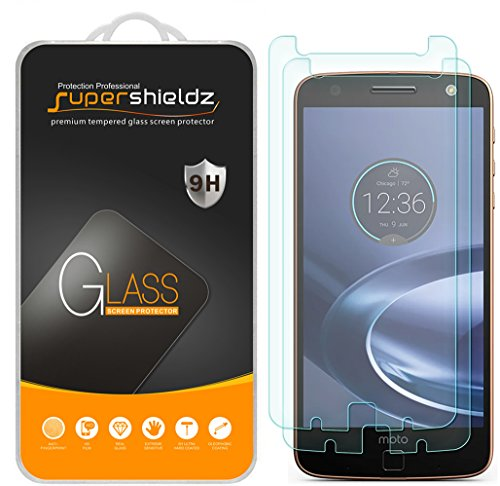 (2 Pack) Supershieldz Designed for Motorola (Moto Z Force Droid) Tempered Glass Screen Protector, Anti Scratch, Bubble Free