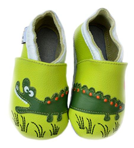 Lait et Miel Leder Lauflernschuhe Krabbelschuhe Babyschuhe mit Motiv Krokodil grün green 0-6 Monate