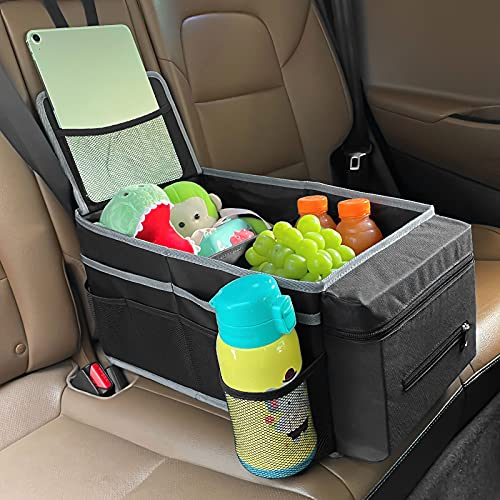 Car Organizer Front Seat Back Seat - Passenger Seat Organizer with Tissue Box & Cup Holder- Car Seat Organizer for Kids,Features 10 Mesh Pockets & 5 Waterproof Pockets