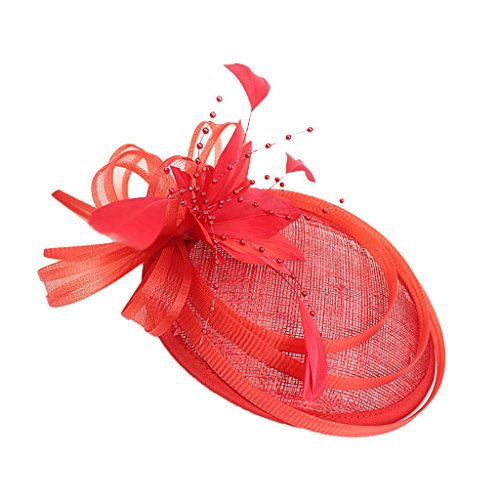 piaceto Fascinateur Rétro Charleston Party Wedding Hen Stag Night Woman Side Hat - Rouge