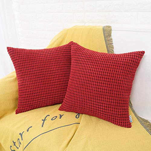HWY 50 Decorative Throw Pillows Covers, Corduroy Soft Comfy Solid Wine Red Pillow Covers Cushion Cases Set for Couch Sofa Bedroom Bed 20 x 20 inch Pack of 2, Corn Striped Decoration