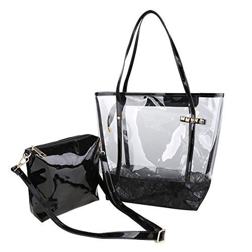TOOGOO(R)) Damen Handbag 2-Taschen Fashion Freizeit Sandstrand Handtasche Durchsichtig Handbag (Schwarz)