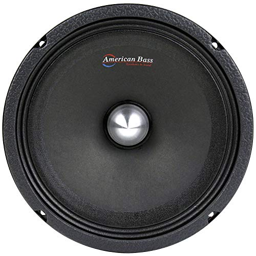 American Bass Usa NEO8 8' Mid-Range Speaker Running at 250W RMS and 500W Max at 4 Ohm Set of 1 Black