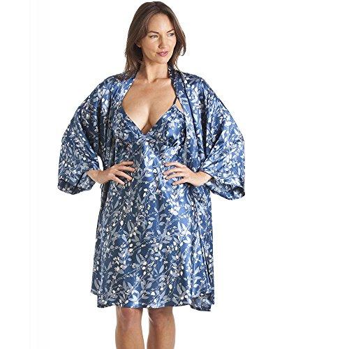 Conjunto de camisón y Bata Estilo Kimono - Estampado Floral - Azul