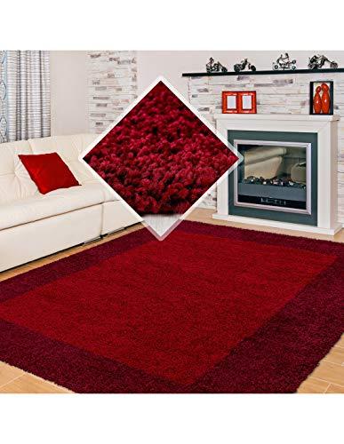 Carpet 1001 Tapis Shaggy Tapis Shaggy 2 Couleurs Rouge et Bordeaux - 160x230 cm