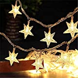 PUHONG Star Window Curtain Lights,Fairy String Lights Christmas Lights Waterproof 20LED 13.2FT 4M for Bedroom Wedding Halloween Christmas New Year Party Decoration(Warm Star)