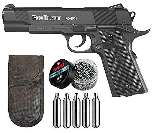 Tiendas LGP - Gamo, Pistola Perdigón Gamo Red Alert RD-1911. Calibre 4,5 mm. BBS, Funda Portabombonas, 500 Balines y 5 Bombonas CO2.