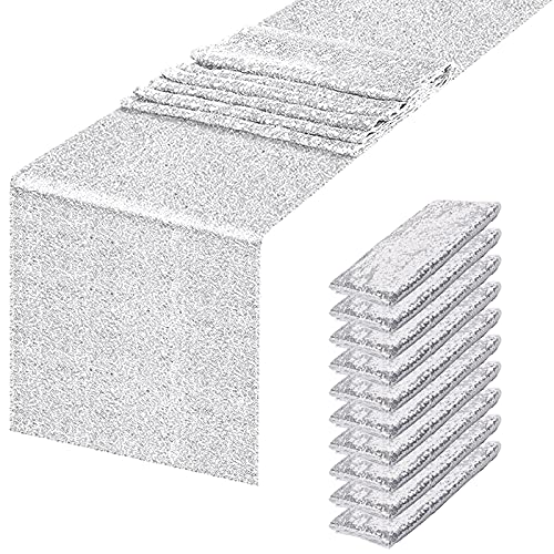 fani 10 Packs 12 x 108 Inch Glitter Silver Sequin Table Runner Silver Dining Table Runner for Birthday Wedding Engagement Bridal Shower Bachelorette Holiday Graduation Celebration Party Decorations