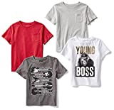 Spotted Zebra Boys' Toddler Short-Sleeve T-Shirts, 4-Pack Young Boss, 3T