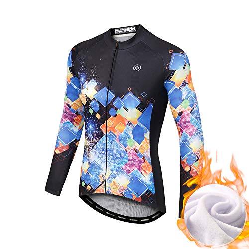 LSHEL Maillot de Cyclisme Tenue VTT Femme Manches Longues ou Courtes à Séchage Rapide pour Toutes Saisons, Velours, Cube, XL