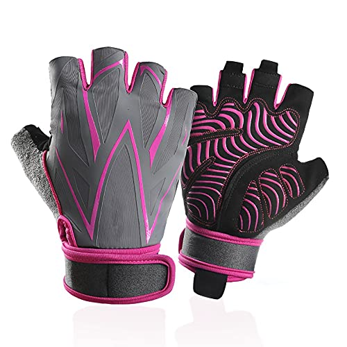Guantes de gimnasia de seda de hielo de ciclismo para hombres y mujeres con pulseras extendidas, palmeras, antideslizantes, amortiguador, equipo de levantamiento de pesas para deportes al aire libre