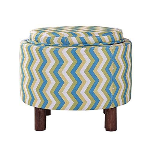 HUANGDA Tabouret de rangement en bois massif tissu simple style américain Tabouret de rangement table basse multifonction (37 * 49cm) (Color : K)