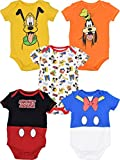 Disney Baby Boy Girl 5 Pack Bodysuits Mickey Mouse Donald Duck Goofy Pluto 6-9 Months