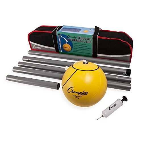 Champion Sports Portable Tetherball Set: classique de courge Lawn Beach and Pool Party Game comprend Soft Ball Nylon Rope & Durable Telescopic Pole avec pompe à air gratuit