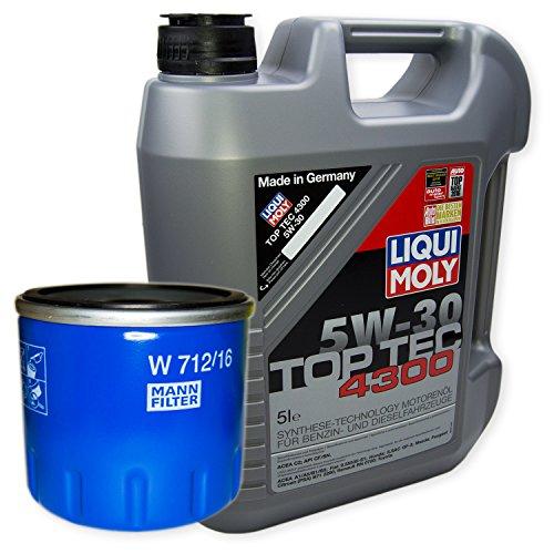 LIQUI MOLY Top Tec 4300 5W-30 3741 + MANN FILTER Ölfilter W 712/16
